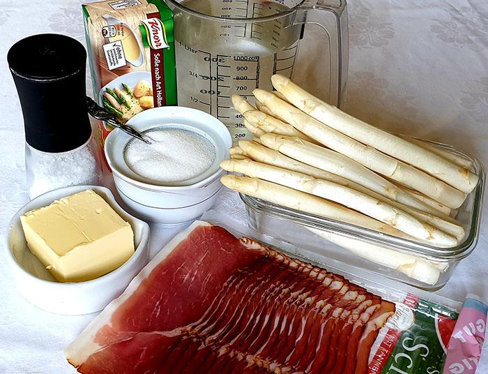 ингредиенты для спаржи под соусом