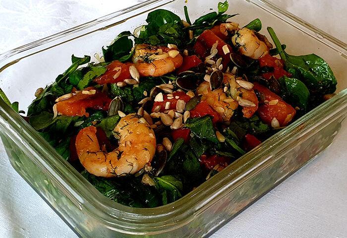 салат с креветками и тыквой